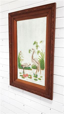 Sale 9121 - Lot 1090 - Art Deco bevelled edge mirror in pressed oak frame with hand painted water birds (87 x 56cm)