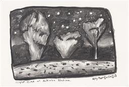Sale 9195 - Lot 512 - REG MOMBASSA (CHRIS ODOHERTY) (1951 - ) - Night-time at Arkaba Station, 2008 28.5 x 42 cm