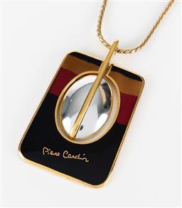 Sale 9250F - Lot 76 - A Pierre Cardin vintage 1970s enamelled logo pendant necklace, pendant length 5.5cm.