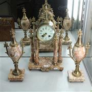 Sale 8304 - Lot 36 - Sienna Marble 3 Piece Clock Garniture (With a Key & Pendulum)