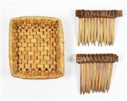 Sale 8463 - Lot 72 - Cultural Cow Combs & Woven Basket