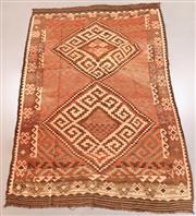 Sale 8438K - Lot 28 - Vintage Tribal Afghan Kilim Rug | 354x232cm, Pure Wool, Soft and colour mature genuine vintage Afghan Kyber Mori kilim handwoven in ...