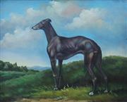 Sale 8675A - Lot 5038 - Artist Unknown - Landseer Greyhound 19 x 24cm