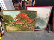 Sale 8686 - Lot 2056 - 2 Oriental Works: Flying Cranes, watercolour & Artist Unknown - Market Scene, acrylic on canvas, SLL