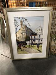 Sale 8789 - Lot 2134 - Angela - Paris Street Scene, watercolour, SLL,5x39cm
