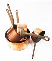 Sale 8828B - Lot 62 - Fabrication Francais graduated sized set of 5 early French copper and tin lined cooking pans. Height range 12 - 20cm