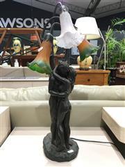 Sale 8851 - Lot 1060 - 2 Ornate Spelter Figure & Trumpet Flower Lamps a/f