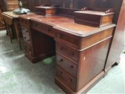Sale 8868 - Lot 1141 - Victorian Mahogany Twin Pedestal Desk, with two trinket drawers & nine further drawers