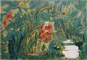 Sale 8867 - Lot 575 - Charles Blackman (1928 - 2018) - White Cats Garden, 1969 75 x 100 cm