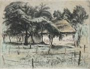 Sale 8914 - Lot 2035 - Artist Unknown Farm House, Kormati, 1938 hand-coloured etching (AF), 23.5 x 30cm, signed -