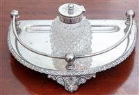 Sale 8934H - Lot 39 - A silver plated ink standish engraved Blanche with removable ink bottle and pen tray Width 26cm