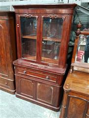 Sale 8939 - Lot 1087 - Victorian Mahogany Secretaire Bookcase, with two carved glass panel doors, fitted secretaire drawer & two panel doors below. H: 222,...