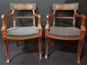 Sale 8971 - Lot 1002 - A Set of Eight Empire Style Dining Chairs with bar backs and lion paw detail and charcoal diaper upholstery (H:87 x W:56 x D:46.5cm)