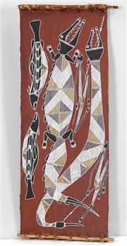 Sale 8449A - Lot 584 - Thompson Nganjmirra (1954 - ) - Crocodile of the Dreamtime 91 x 35cm