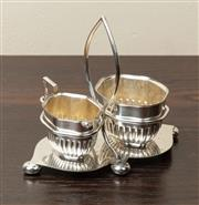 Sale 8871H - Lot 191 - An antique silverplate afternoon tea stand fitted with half fluted cream jug and sugar bowl, John Sherwood, Birmingham, C: 1910. Hei...