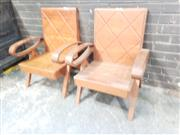 Sale 8984 - Lot 1036 - Pair of Art Deco Style Hardwood Armchairs (H:84 x W:66cm)
