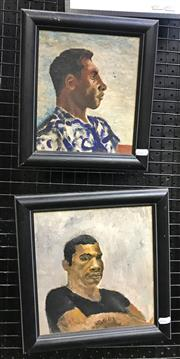 Sale 9072 - Lot 2017 - G. Baker (two works) Portraits of Papua New Guinean Men, 1960s, frame: 31 x 30 & 29 x 25 cm, each signed