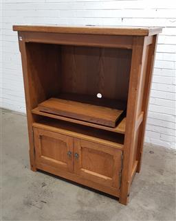 Sale 9146 - Lot 1082 - Timber entertainment unit (h:157 x w:76 x d:47cm)