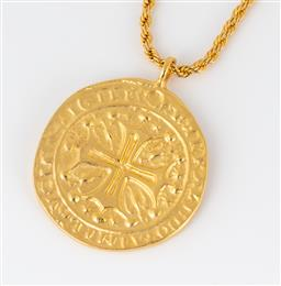 Sale 9250F - Lot 75 - A Kenneth Jay Lane coin pendant necklace, pendant diameter 4cm.
