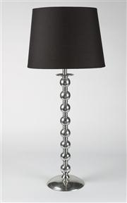 Sale 8350L - Lot 83 - A pair of modern aluminium lamps with black shades, total H 84cm, RRP $ 1480