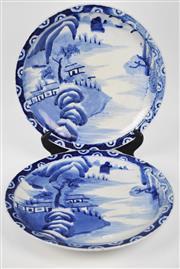 Sale 8381B - Lot 92 - Oriental Blue & White Chargers Depicting Landscapes
