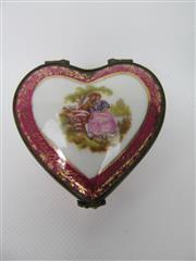 Sale 8402B - Lot 11 - Limoges Heart Shaped Pill Box, France - hairline crack