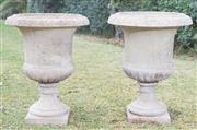 Sale 8422A - Lot 43 - A pair of impressive stoneware urns (two pieces), height 70cm