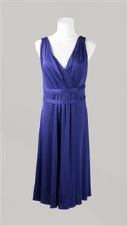 Sale 8499A - Lot 10 - A Midnight blue Moschino Cheap and Chic rayon & silk high-waisted sleeveless long dress. Size: 44 (Italy).