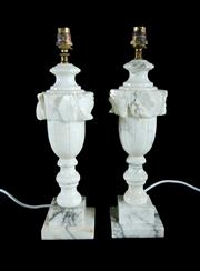 Sale 8620A - Lot 54 - A pair of early Italian carved marble table lamps, recently rewired to Aust. Standards, overall height to top of bulb holder, 43cm