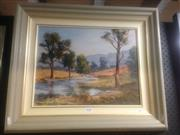 Sale 8655 - Lot 2058 - Joy Mulder - Dart Brooke near Scone, oil on board, 54.5 x 65cm (frame) signed lower right