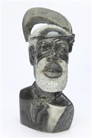 Sale 8667 - Lot 35 - A Verdite Sculpture bust by Shelton of a Shona Tribesman. Height 29cm