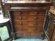 Sale 8666 - Lot 1058 - Victorian Scottish Mahogany Chest of Six Drawers, with shaped frieze drawer & barley twist supports