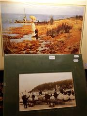 Sale 8671 - Lot 2072 - Photographic Print & 2 Beach Scenes (3) -