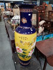 Sale 8724 - Lot 1046 - Large Blue and Yellow Ground Chinese Vase (H: 110cm)