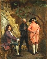 Sale 8821 - Lot 555 - Ignacio Léon y Escosura (1834 - 1901) - Untitled 1869 (The Meeting) 23.5 x 185cm