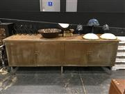 Sale 8851 - Lot 1009 - Large Industrial Metal Storage Unit With Timber Top
