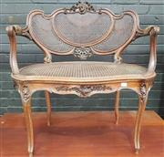 Sale 8917 - Lot 1067 - Louis XV Style Carved Walnut Tub Chair, with caned triple panel back & seat & on cabriole legs