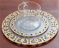 Sale 8934H - Lot 38 - A Peter Crisp glass and gilt enamel trio