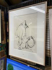 Sale 8927 - Lot 2038 - Steven Wilson - Gorilla with Tyre, ink on paper, SLL