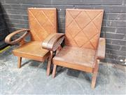 Sale 8984 - Lot 1037 - Pair of Art Deco Style Hardwood Armchairs (H:84 x W:66cm)