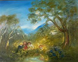 Sale 9123J - Lot 6 - David Boyd Playing with the Cockatoos oil on canvas 59 x 74cm signed lower left