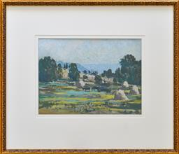 Sale 9123J - Lot 3 - ETHEL CARRICK FOX (1872-1952) Carting Hay c1925 oil on card 25.5 x 34.5 cm (51.0 x 59.0 cm inc. frame) signed lower left titled, sta...
