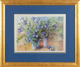 Sale 9155H - Lot 37 - After S Fells, a  framed print depicting flower bunches in vases in gilt frame. Frame size 60x71cm
