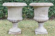 Sale 8422A - Lot 45 - A pair of impressive stoneware urns (two pieces), height 70cm
