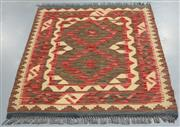 Sale 8438K - Lot 31 - Summer Afghan Tribal Kilim Runner  | 110x91cm, Pure Wool, Finely handwoven in Northern Afghanistan using high quality local wool. Vi...