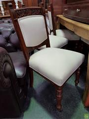 Sale 8593 - Lot 1076 - Set of Six Carved Back Dining Chairs with Upholstered Back & Seat with Castors to Front
