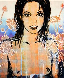 Sale 9154JM - Lot 5035 - DAVID BROMLEY (1960 - ) - Belinda with Flowers 34 x 28.5 cm (frame: 57 x 48 x 3 cm)