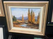 Sale 8650 - Lot 2007 - Diana Garth - River Moonan Flats oil on board, 57 x67cm (frame), signed lower right -