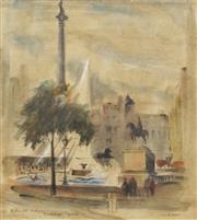 Sale 8675A - Lot 5061 - Dora Jarrett (1904 - 1983) - Nelsons Column, Trafalgar Square, c1930 26.5 x 24.5cm