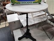 Sale 8912 - Lot 1078 - Waterproofed Round Marble Top Table on Cast Iron Base (Dia: 60cm)